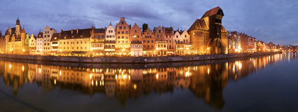 Night panorama of the historical medieval port in Gdansk Royalty Free Stock Images
