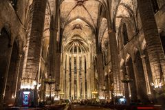 Night panorama inside the gothic church of Santa Maria del Mar in the Ribera district of Barcelona, Catal Stock Photo