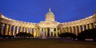 Night panorama of the Kazan Cathedral Stock Photography