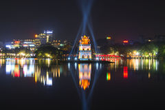 Night panorama of lake Hakiem with a Tower of turtles. Hanoi, Vietnam Royalty Free Stock Photography