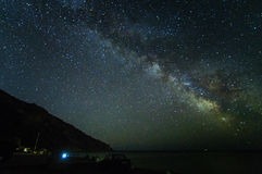 Night panorama of the landscape with the milky way and house Royalty Free Stock Photo