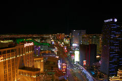 Night Panorama of Las Vegas Boulevard The Strip. Royalty Free Stock Images