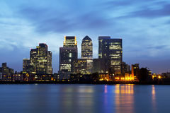 Night Panorama of London business district Canary Wharf Royalty Free Stock Photos