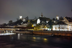 Night panorama Lucern and Reuss River, Canton of Lucerne Stock Images