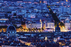 Night panorama of Lyon Stock Images