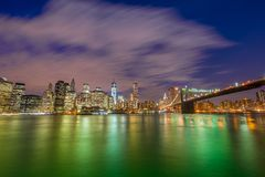 Night panorama of Manhattan Stock Photography