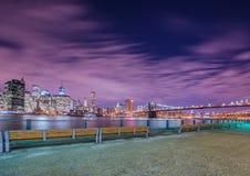 Night panorama of Manhattan Royalty Free Stock Photo