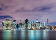 Night panorama of Manhattan Royalty Free Stock Photography