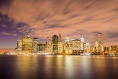 Night panorama of Manhattan Royalty Free Stock Photos