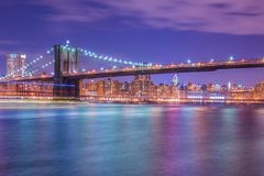 Night panorama of Manhattan Royalty Free Stock Images
