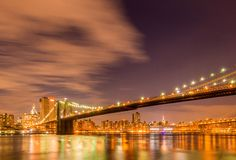 Night panorama of Manhattan in New York, USA Royalty Free Stock Photography