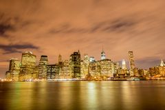 Night panorama of Manhattan in New York, USA Stock Image