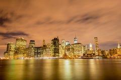 Night panorama of Manhattan in New York, USA Stock Image