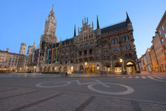 Night panorama of Marienplatz, Munich City, Germany. Royalty Free Stock Photos