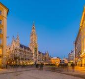 Night panorama of Marienplatz and Munich city hall in Munich Stock Photography