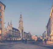 Night panorama of Marienplatz and Munich city hall in Munich Royalty Free Stock Photography