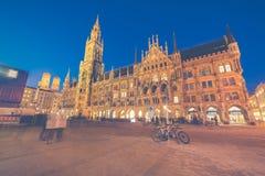 Night panorama of Marienplatz and Munich city hall in Munich Stock Image