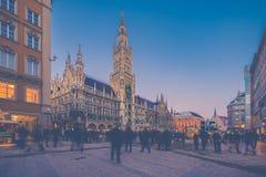 Night panorama of Marienplatz and Munich city hall in Munich Royalty Free Stock Image