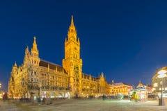 Night panorama of Marienplatz and Munich city hall in Munich Stock Photo