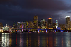 Night panorama of Miami city downtown with reflections. Stock Photo
