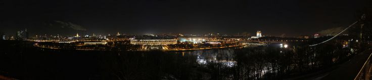 Night panorama of Moscow Royalty Free Stock Photos