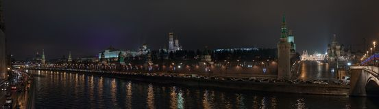 Night panorama of Moscow Kremlin Royalty Free Stock Image