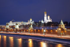 Night panorama of the Moscow Kremlin Stock Images