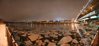 Night panorama, Moscow, Russia Royalty Free Stock Photos
