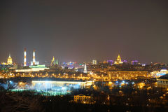 Night panorama of Moscow, Russia Stock Photo