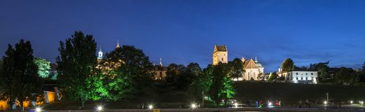 Night panorama of New Town in Warsaw, Royalty Free Stock Photo
