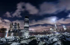 Night panorama of New York city Stock Photography