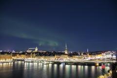 Night panorama with northern lights of Gamla Stan, Stockholm , Sweden. Night panorama with northern lights of Gamla Stan Old Town, Stockholm , Sweden Royalty Free Stock Photos