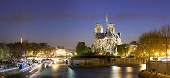 Night panorama of Notre Dame de Paris Stock Photo