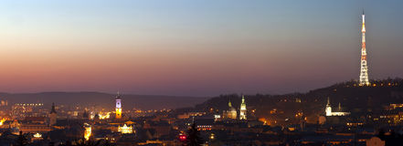 Night panorama of the old city Royalty Free Stock Image