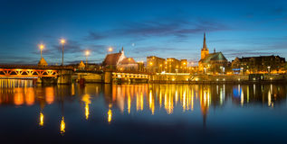 Night panorama of Old Town in Szczecin Royalty Free Stock Photo