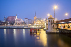 Night panorama of Old Town in Szczecin (Stettin) City Stock Photo