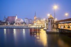 Night panorama of Old Town in Szczecin (Stettin) City Stock Photo