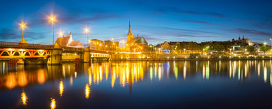 Night panorama of Old Town in Szczecin royalty free stock photography