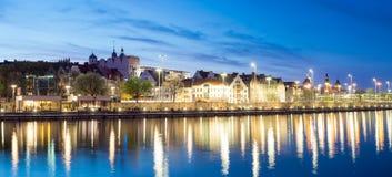 Night panorama of Old Town in Szczecin Stock Photos