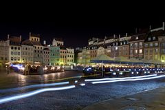 Night panorama of Old Town in Warsaw Royalty Free Stock Photos