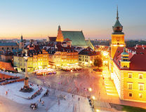 Night panorama of Old Town in Warsaw, Poland Stock Photo