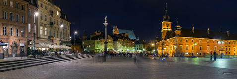 Night Panorama of Old Town in Warsaw, Poland Royalty Free Stock Image
