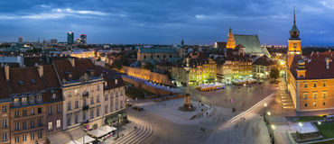 Night Panorama of  Old Town in Warsaw, Poland Royalty Free Stock Photography