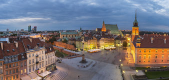Night Panorama of  Old Town in Warsaw, Poland Stock Photography