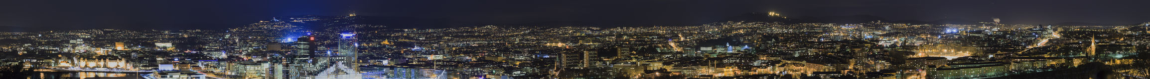 Night panorama of Oslo Royalty Free Stock Images
