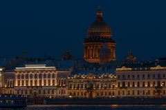 Night panorama of Palace Embankment in Petersburg Royalty Free Stock Photography