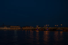 Night panorama of Palace Embankment in Petersburg Royalty Free Stock Image