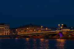 Night panorama of Palace Embankment in Petersburg Stock Photos