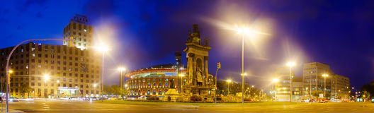 Night panorama of Plaza de Espana in Barcelona Stock Image