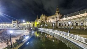 Night Panorama of Plaza de Espana in Seville, Spain. Panoramic night view of the Spain Square Plaza de Espana in Seville Sevilla city, Andalusia, Spain. Example stock video
